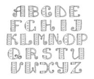 ABC. Vector hand drawn alphabet. Doodle lettering collection. Bl. Ack and white. Hearts and lines vector illustration