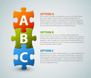 ABC - vector puzzle pieces with letter. ABC - vector progress icons for three steps royalty free illustration