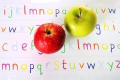ABC verde rojo de Apple Imagen de archivo libre de regalías