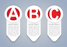 ABC vertical vector progress icons in White. A set of vertical icons or labels templates marked with the ABC progress system Royalty Free Stock Photos