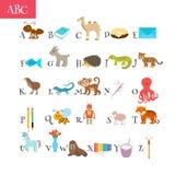 ABC Vocabolario del fumetto per istruzione Alfabeto dei bambini con Cu royalty illustrazione gratis