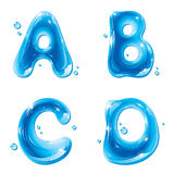 ABC - Wasser-flüssiges Zeichen eingestellt - Kapital A B C D Stockfoto