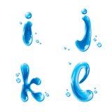 ABC - Wasser-Flüssigkeit eingestellt - kleine Buchstaben I J K L Lizenzfreies Stockbild