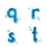 ABC - Wasser-Flüssigkeit eingestellt - kleiner Buchstabe q r s t Stockbilder
