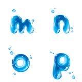 ABC - Wasser-Flüssigkeit stellte - kleinen Buchstaben m N O P ein Stockbild