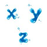 ABC - Wasser-Flüssigkeit stellte - kleinen Buchstaben x-yz ein Stockbild
