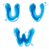 ABC - Water Liquid Letter Set - Capital U V W Stock Photo