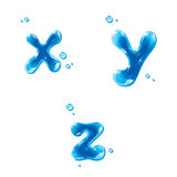 ABC - Water Liquid Set - Small Letter x y z. Liquid Alphabet Gel Series on white background, editable vector illustration - EPS8 royalty free illustration