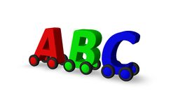 Abc on wheels. The letters  abc on wheels - 3d illustration Royalty Free Stock Photography