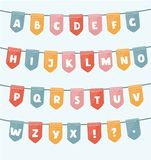 ABC With Party Flags. Handmade Font.Smartly Grouped And Layered. Stock Image