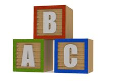 Abc Wood block. A render artwork with white background Royalty Free Stock Photo