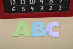 ABC wood block with chalk board - back to school concept Stock Image
