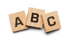 ABC Wood Tiles. ABC Alphabet Wood Tiles Isolated on a White Background Stock Photography
