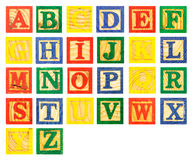 ABC Wooden alphabet block paint colorful Stock Images