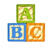 ABC in wooden block letters Stock Image