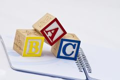 ABC in wooden blocks Stock Image