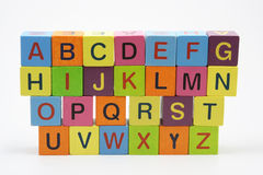 Abc wooden blocks. Wooden blocks with letters on white background Royalty Free Stock Images