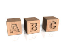 ABC wooden blocks. Placed horizontally Stock Images