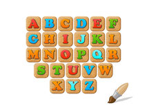 ABC on wooden blocks funny kid  set Royalty Free Stock Image