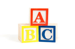 ABC wooden blocks stacked vertically. Isolated on white royalty free stock photography