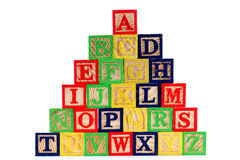 ABC wooden blocks on white Royalty Free Stock Photo