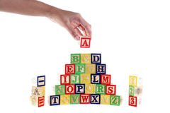 ABC wooden blocks on white Royalty Free Stock Photography