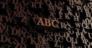 ABC - Wooden 3D rendered letters/message. Can be used for an online banner ad or a print postcard Stock Image