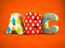 ABC word on orange background. 3D Stock Photo