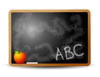 ABC Writing on Chalkboard. An illustration featuring a chalkboard with ABC written on it and an apple Stock Photo