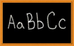 ABC Written on Chalkboard. Chalkboard with ABC alphabet printed in chalk Stock Images