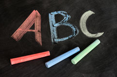 ABC written in colorful chalk Stock Photo