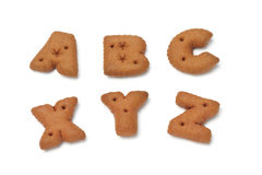 ABC XYZ alphabet chocolate cookies Royalty Free Stock Photo