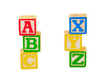 ABC and XYZ Blocks Stacked. Alphabet blocks stacked and staggered in various ways Royalty Free Stock Photos
