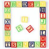 ABC y 123 bloques en blanco Imagen de archivo libre de regalías