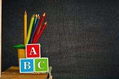 ABC y lápiz coloreado Fotos de archivo