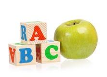 ABC y manzana Imagenes de archivo