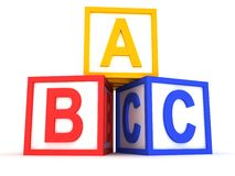 Abc yellow, red and blue blocks. 3d Stock Image