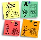 Abc zasadnicze podstawy reprezentować na kolorowe notatki Obrazy Royalty Free