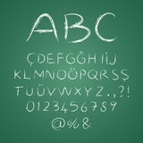 abcbokstäver på en svart tavla Arkivbild