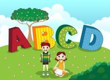 ABCD字母表和孩子 免版税库存照片