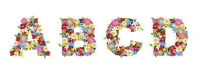 abcd άνοιξη λουλουδιών διανυσματική απεικόνιση