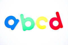 Abcd. The letter a b c d in blue green yellow and red Stock Image