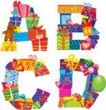 ABCD - alfabeto - lettere sono fatti dei contenitori di regalo Fotografia Stock