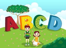 ABCD alphabet and children Royalty Free Stock Photo