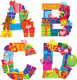 ABCD - alphabet - letters are made of gift boxes. ABCD - english alphabet - letters are made of gift boxes and presents Stock Photo