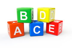 ABCD block cubes. Alphabet Concept. ABCD cubes on a white background Royalty Free Stock Image