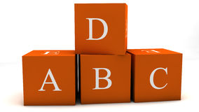 ABCD cubes. 3d design. Abcd cubes and white background Royalty Free Stock Image