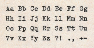 ABCD letters. Written with a typewriter on an aged paper Stock Photo