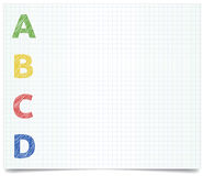 ABCD - pen style. Colorized ABCD - pen style letters on excersise book paper stock illustration