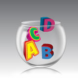 ABCD Pot. Colored ABCD alphabets pot on gray background . This image is useful in child education stock illustration